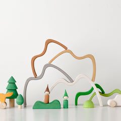RADUGA GRËZ  | Wooden Mountain Stacker Small | Coloured