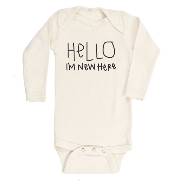 TENTH & PINE Organic Long Sleeve Onesie Hello Im New Here