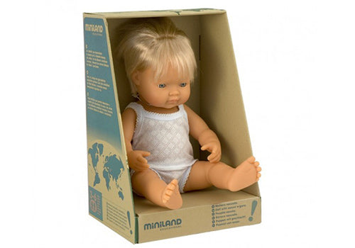 MINILAND Anatomically Correct Baby Doll Caucasian Boy 38cm