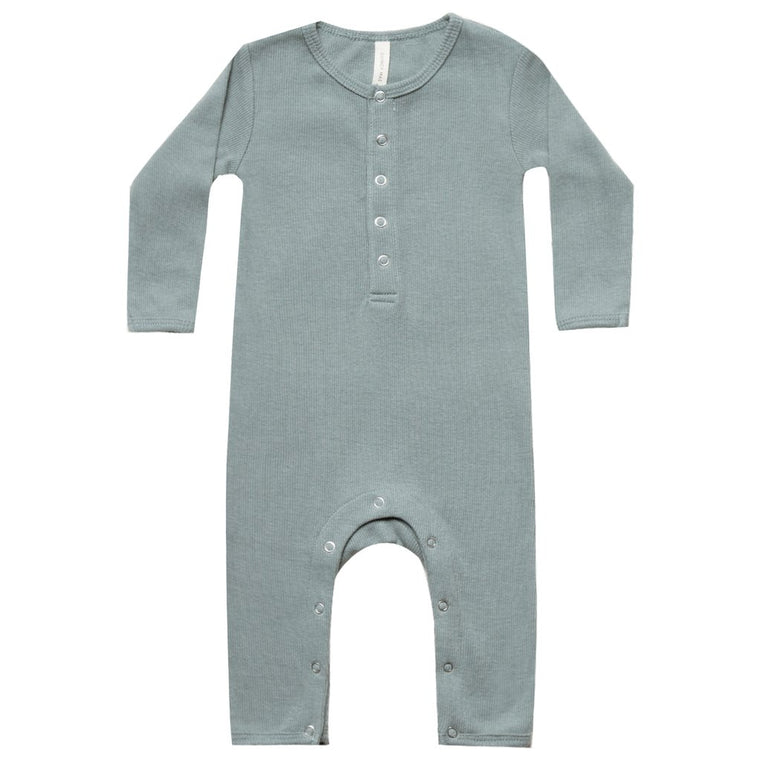 QUINCY MAE I Ribbed Baby Jumpsuit Sea SS19