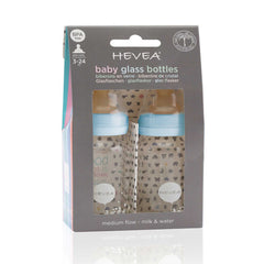 HEVEA Glass Feeding Bottles 2 Pack Blue