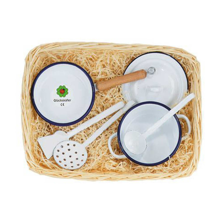 GLUCKSKAFER | Enamel Cooking Set In Cane Basket