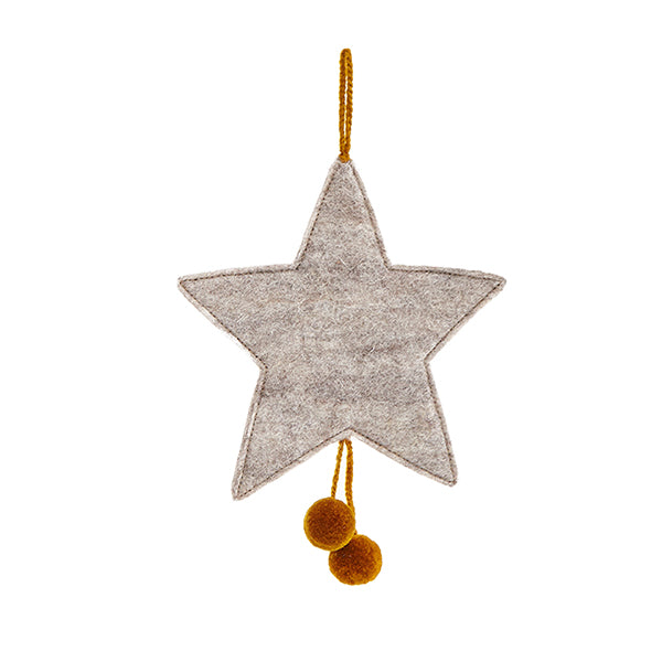 MUSKHANE Felt Hanging Star With Pompoms Light Stone & Pollen