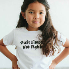 THE BEE AND THE FOX | Tee | Pick Flowers Not Fights | White