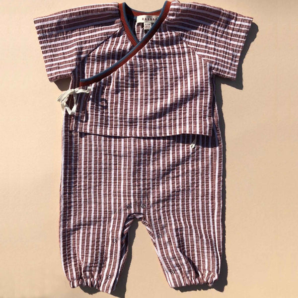 RAARAA KIDS | Stripe Georgie Romper | Rust
