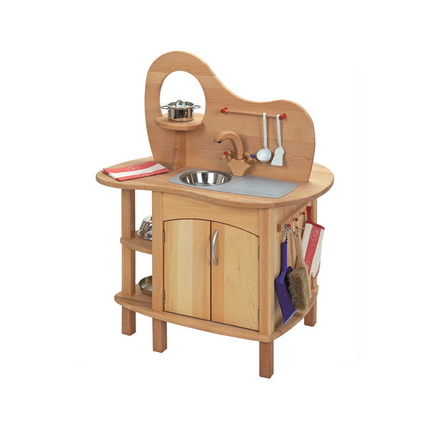 GLUCKSKAFER | Children's 360 Wooden Kitchen | Double-Sided With Stove And Sink