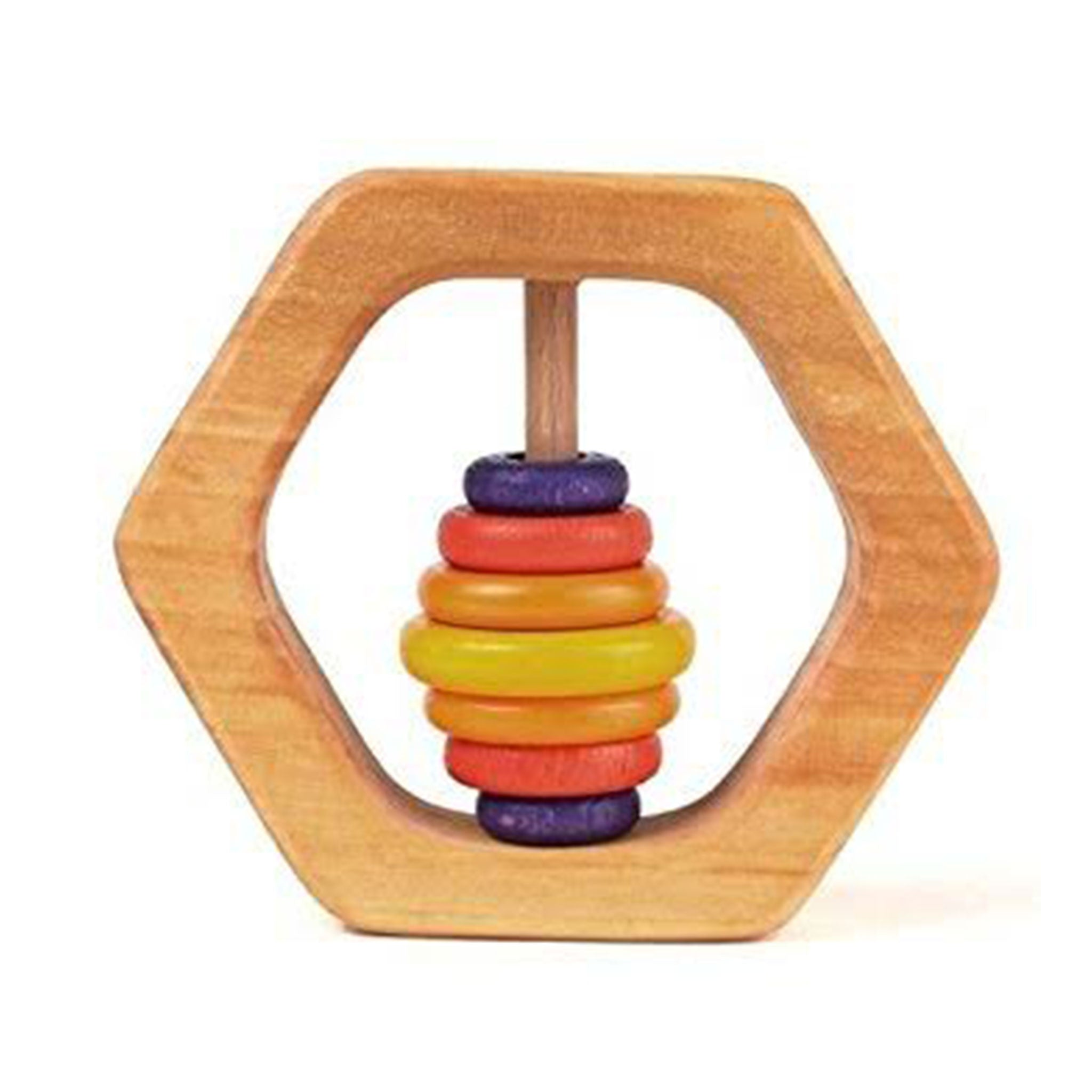 GRIMM'S Natural Hexagon wooden rattle