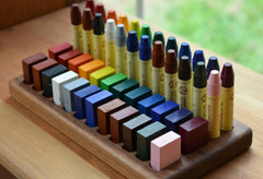 TREASURES FROM JENNIFER | Wooden Beeswax Crayon Holder | 24 Blocks 24 Sticks