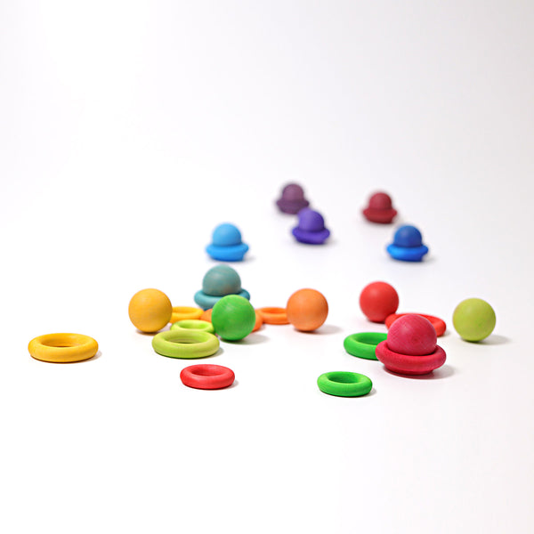 GRIMM'S | Small Wooden Balls Rainbow Colours