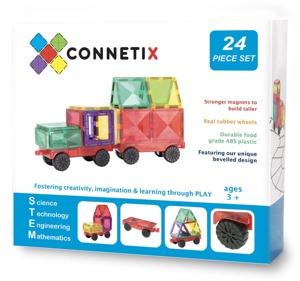 CONNETIX TILES | Magnetic Building Tiles | 24 Piece Car Pack