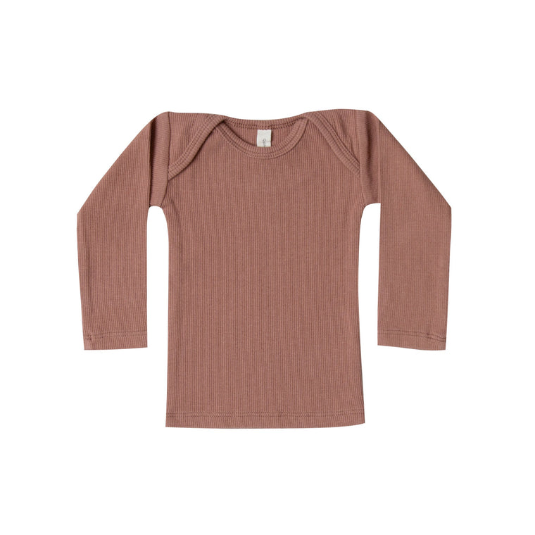 QUINCY MAE Ribbed Lap Tee - Clay (Pre-Order Mid November Delivery)
