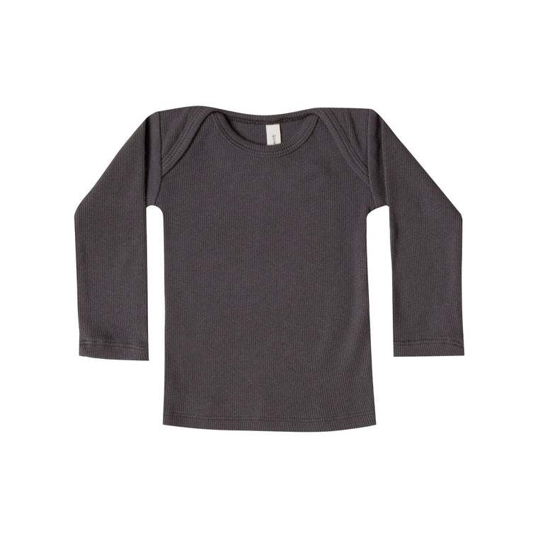 QUINCY MAE Ribbed Lap Tee - Coal (Pre-Order Mid November Delivery)