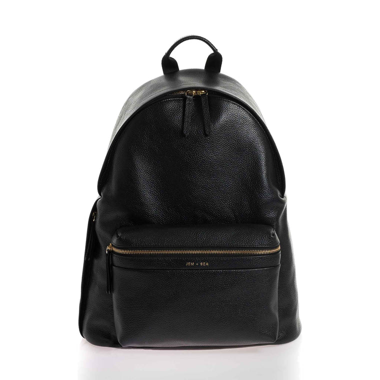 JEM + BEA Jamie Black Leather Backpack