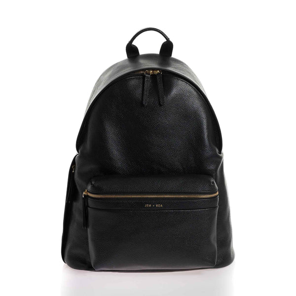 JEM + BEA Jamie Black Leather Backpack Changing Bag