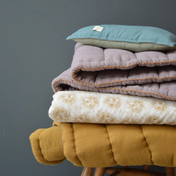 CAMOMILE LONDON | Hand Quilted Blanket | Ochre