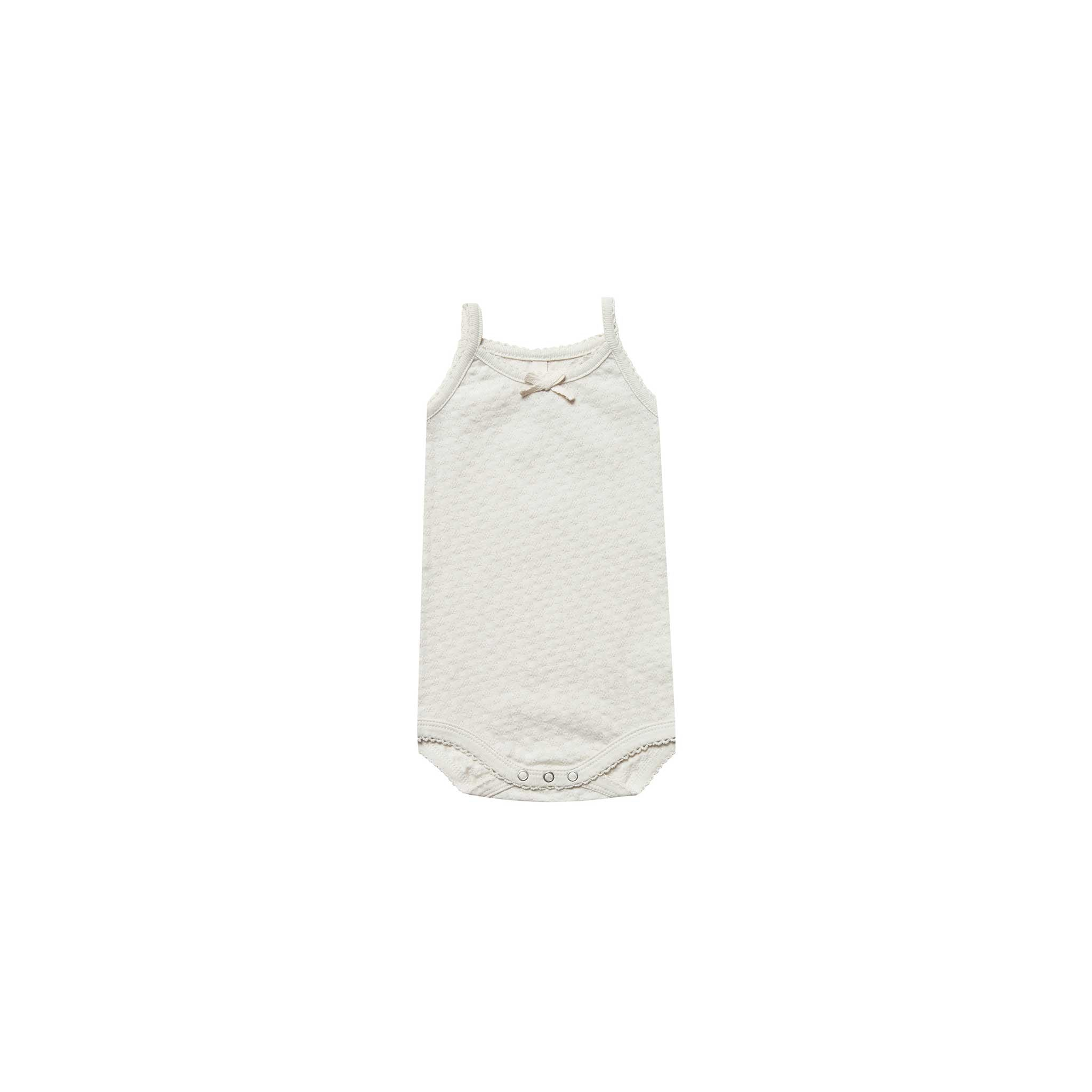 QUINCY MAE I Pointelle Tank Onesie Pebble SS19