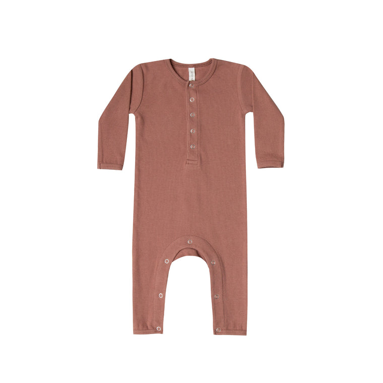 QUINCY MAE Ribbed Baby Jumpsuit - Clay (Pre-Order Mid November Delivery)