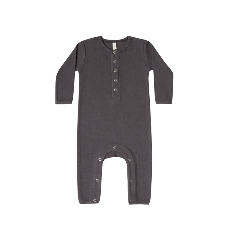 QUINCY MAE Ribbed Baby Jumpsuit - Coal (Pre-Order Mid November Delivery)