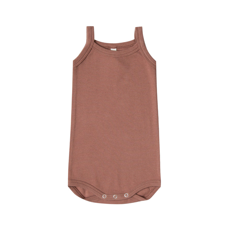 QUINCY MAE Ribbed Tank Onesie - Clay (Pre-Order Mid November Delivery)