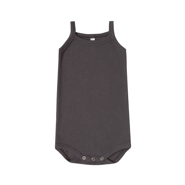 QUINCY MAE Ribbed Tank Onesie - Coal (Pre-Order Mid November Delivery)