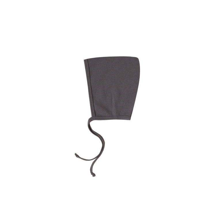QUINCY MAE Ribbed Baby Bonnet - Coal (Pre-Order Mid November Delivery)