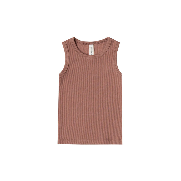 QUINCY MAE Ribbed Baby Tank - Clay (Pre-Order Mid November Delivery)
