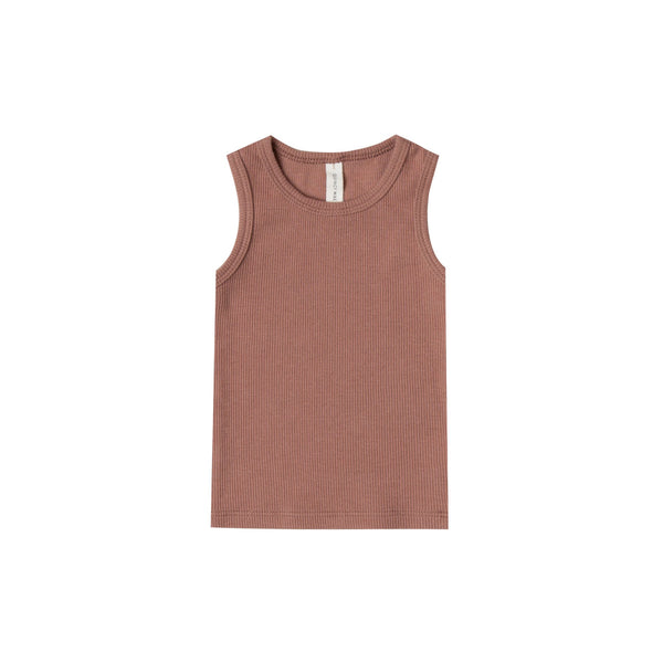 QUINCY MAE Ribbed Baby Tank - Clay