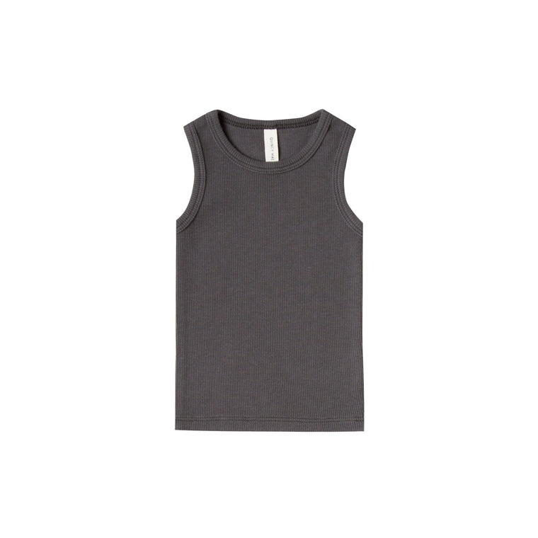 QUINCY MAE Ribbed Baby Tank - Coal (Pre-Order Mid November Delivery)