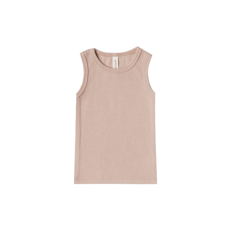 QUINCY MAE Ribbed Baby Tank - Rose (Pre-Order Mid November Delivery)