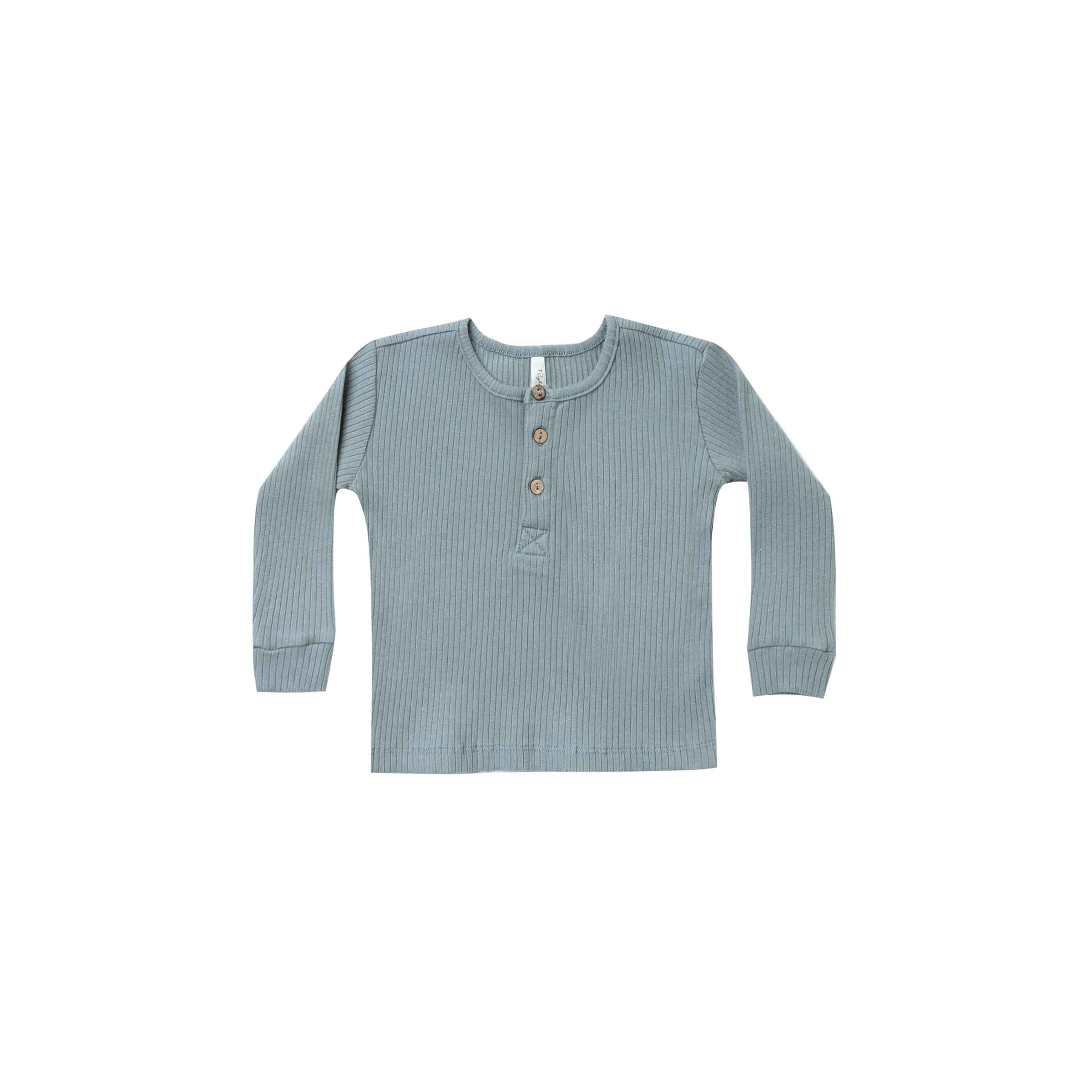 RYLEE + CRU | SNOWBIRD | Ribbed Henley | Dusty Blue