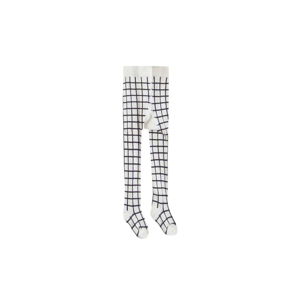 RYLEE + CRU | SNOWBIRD | Check Ribbed Tights | Black / Ivory