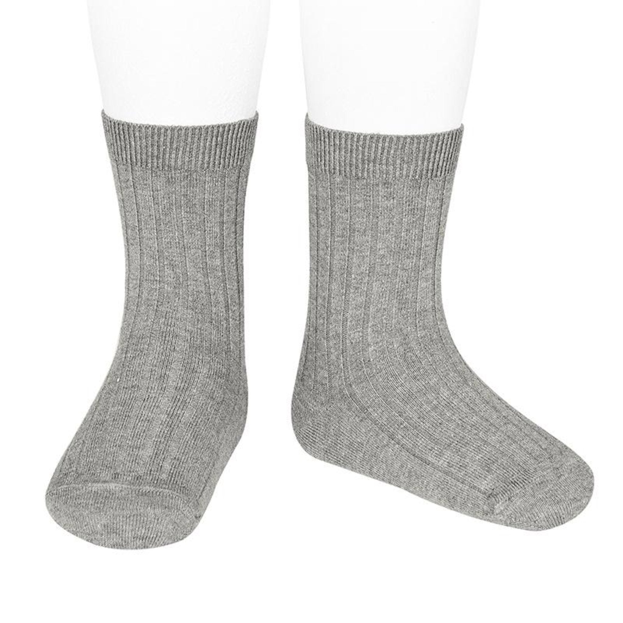 CONDOR | Ribbed Cotton Short Sock | Aluminio Grey (#221)