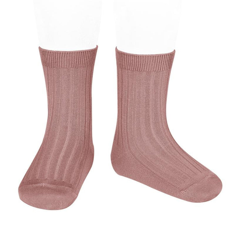 CONDOR | Ribbed Cotton Short Sock | Terracotta (#126)