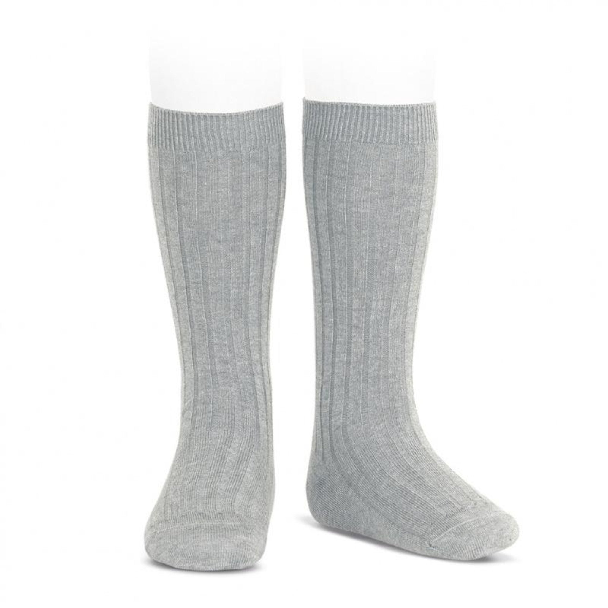 CONDOR Wide Ribbed Cotton Knee High Socks Aluminio Grey (#221)