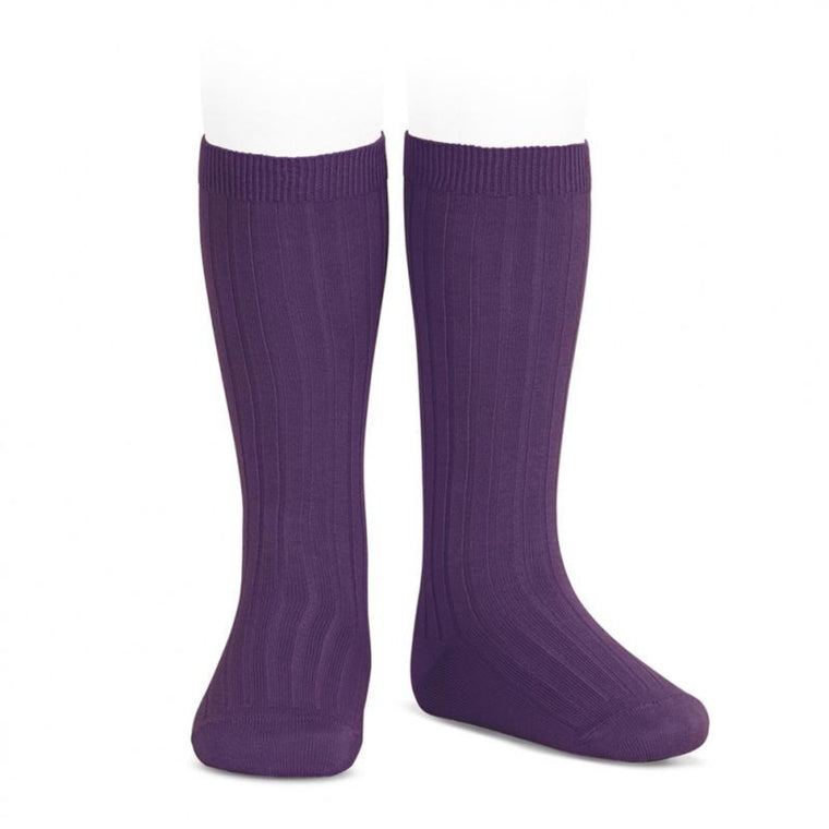 CONDOR | Wide Ribbed Cotton Knee High Socks | Aubergine / Berenjena (#180)