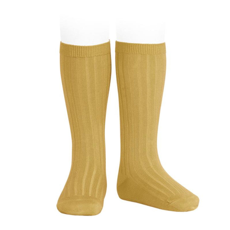CONDOR | Wide Ribbed Cotton Knee High Socks | Curry (#645)