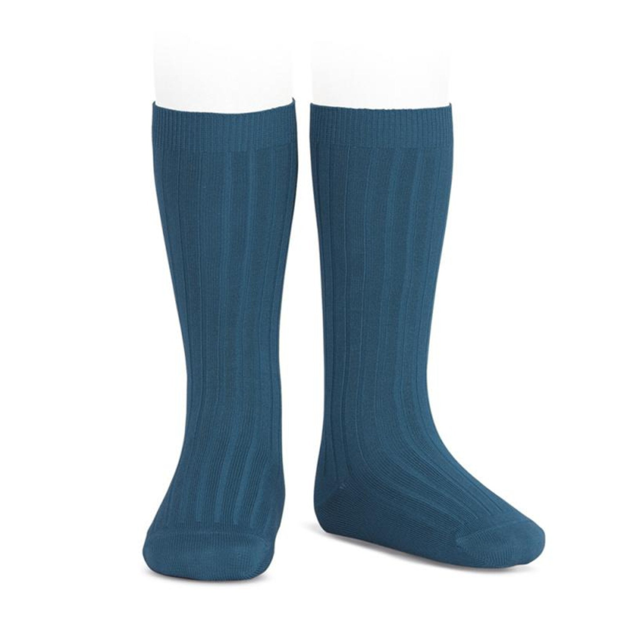 CONDOR | Wide Ribbed Cotton Knee High Socks | Oceano (#453)