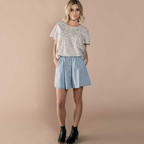 RYLEE + CRU | SNOWBIRD | Womens Button Front Mini Skirt | Washed Denim