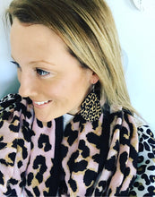 Wooden Leopard Print Drop Earrings