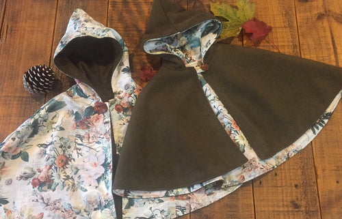 Copy of Girls Reversible Hooded Cape - Pre Order