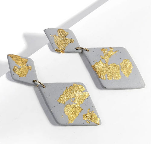 Geometric Gold Foil Polymer Clay Drop Earrings