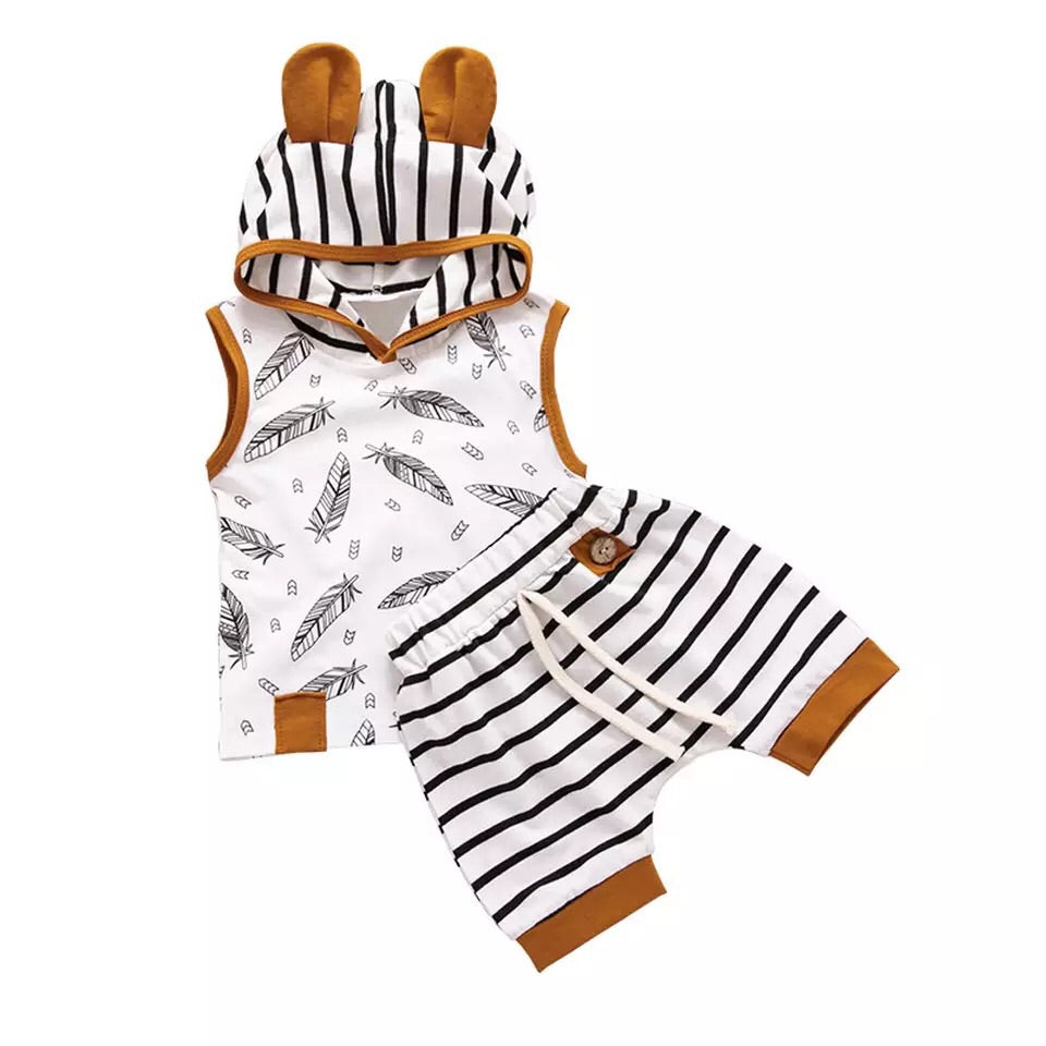 Boys Two Piece Feather & Stripe Set