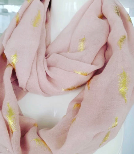 Gold Feather Foil Scarf - Dusky Pink