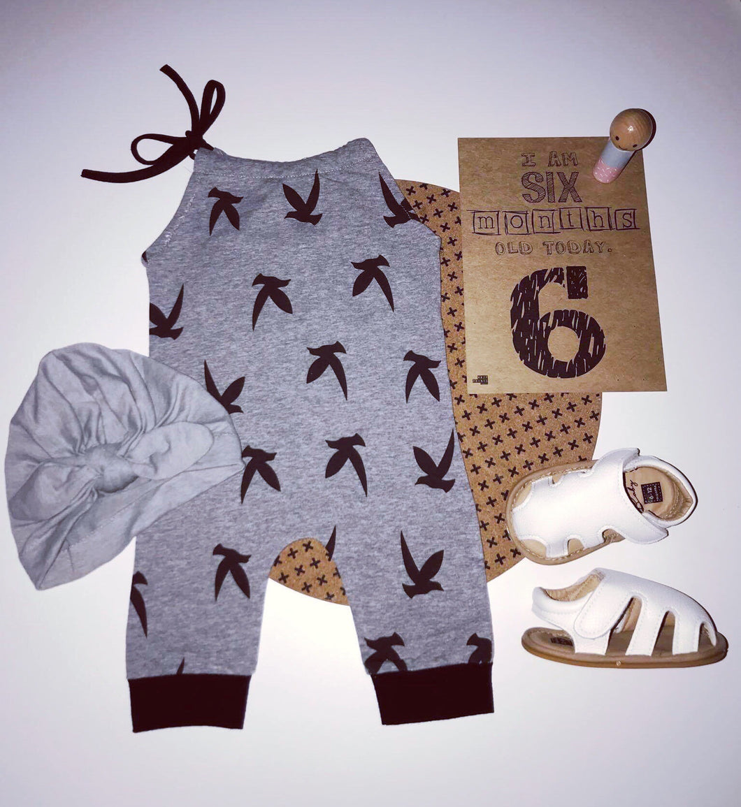 Girls Bird Print Jumpsuit