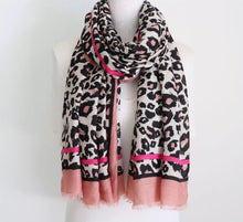 Pink Leopard Striped Scarf