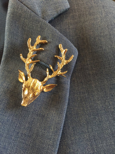 Men's Deer Head Suit Brooch