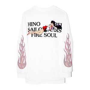sailor mars shirt long sleeves hino rei hino fire soul sleeve fire flames rhinestones rhinestone sailor moon shirt tee earth boring