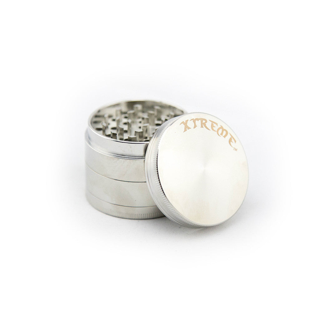 Xtreme 4pc Herb Grinder - Silver - Fraser 420 Smoke Shop - Surrey, BC - Grinders - Fraser Stop n Go - Glass & Gifts, Bongs, Vaporizers, Vape, Green Leaf Hemp & Blunts
