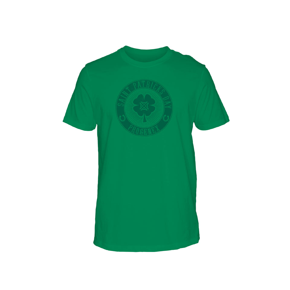 Progenex St Patricks Day Tee artwork printed on Kelly Green short sleeve tee