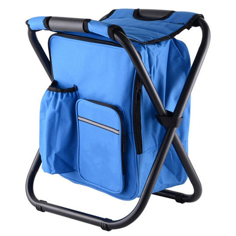 Image of blue cooler chair backpack